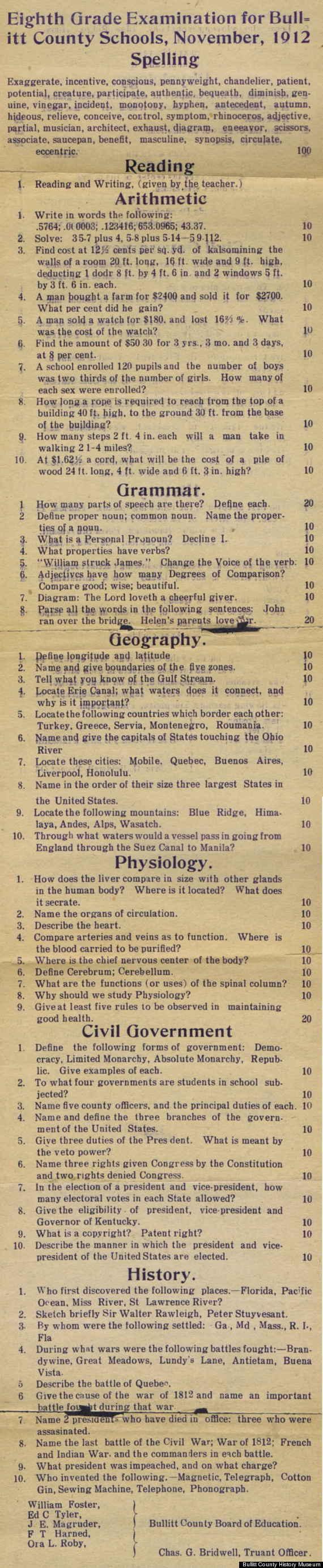 1912 8th grade exam