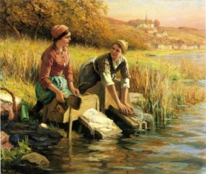 ladies washing by a stream